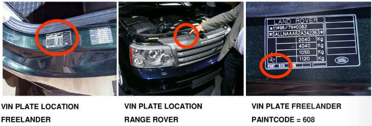 Exemple emplacement code Land Rover